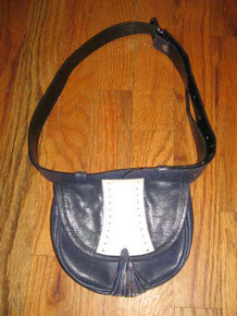 Vintage Mondi  Accessoires Blue White Eyelet Buckled Belt Leather Fanny Bag w/ Fringe Tassels