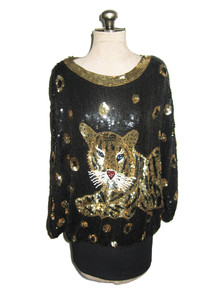 Vintage Black Gold Silver Sequins Multicolor Beads Embellished Big Leopard Design Dolman Sleeve Multifunctional Slouchy Tunic Blouse Micro Mini Short Dress