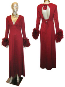 Vintage Burgundy Empire Waist Feather Boa Sleeve Cut Out Back Detail Long Disco Dress