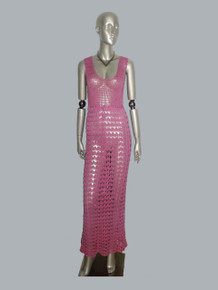 Vintage Pink Double Scoop Long Crochet Dress