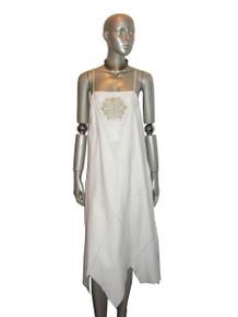 Vintage White Leather Sequins Pointelle Holes Handkerchief Hem Strappy Dress