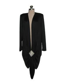 Vintage Jovani Black Avant Garde Flapper Art Deco Beads Rhinestone Embellished Plunging Neck Slouch Dress w/ Sash