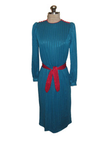 Vintage Liz Petites Turquoise Vertical Stripe Contrast Red Buttoned Shoulder Secretary Dress w/ Belt
