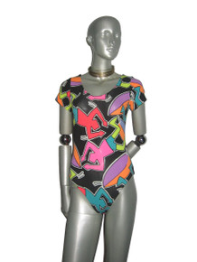 POYZA Vintage Fabric Made Black Vibrant Multicolor Printed Multifunctional Bodysuit