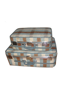 Skyway Vintage 2pc Large Small Multicolor Carpet Vinyl Tartan Plaid Carry On Luggage Suitcase