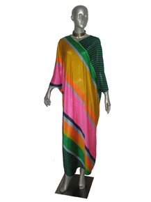 Vintage Kayser Rare Vibrant Multicolor Stripe VNeck Zipper Hippie Boho Dolman Sleeve Multifunctional Coverup Loungewear Long Caftan Dress