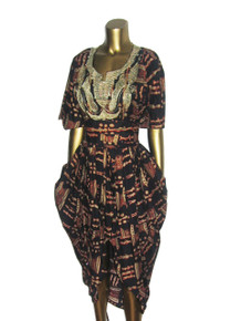 Vintage The African Village Ethnic Multicolor Metallic Gold Embroidered African Print Draped Caftan Dress w/ Self Belt