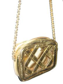 Vintage Metallic Gold See Thru Vinyl Diamond Shape Chain Strap Quilted Handbag