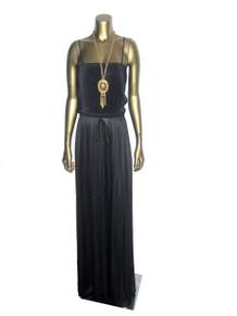 Vintage Black Strappy Pleated Blouson Long Disco Dress