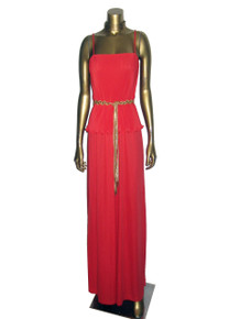 Vintage Red Strappy Pleated Overlay Blouson Long Disco Dress