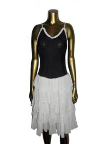 Vintage Black & White Polka Dot Strappy Ruffle Tier Short Dress