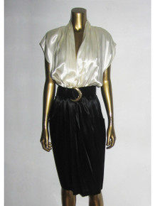 Vintage Just In Thyme LTD. Cream Black Plunging Neck Satin Dress w/ Gold Buckled Belt