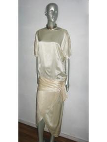 Vintage Cream Drop Waist Shirred Slouchy Tulip Satin Gatsby Dress