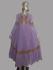 VTG Stunning Beverly Paige Purple Lavendar Multicolor Embroidered HIppie Boho Sheer Gauze Long Ruffled Flared Gathered Smock Peasant Dress