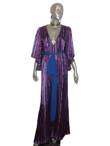 POYZA One Of A Kind Multicolor Striped Deep V-Neck Wide Leg Palazzo Long Flutter Angel Sleeve Jumpsuit