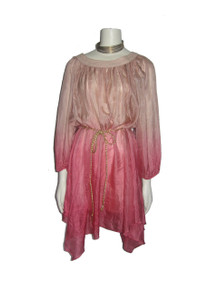 C. Luce Pink Dip Dye Hankerchief Hem Smock Boho Sheer Silk Dress