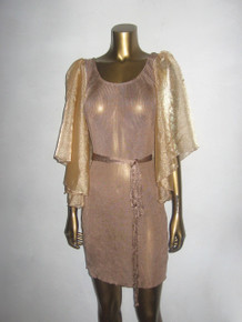Sale POYZA Knit Rib See Thru Sheer Organza Bronze Gold Butterfly Puff Sleeve Scooped Short Bodycon Mini Dress w/ Belt