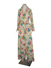 Vintage Beige Multicolor Floral Print Sash Belt Tunic Shirt Long Palazzo Wide Leg 2pc Set Pants Shirt Outfit Dress Ensemble