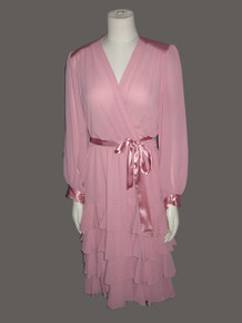 Vintage NWT Unworn Pink Chiffon See Thru Sheer Satin Ruffle Plunging Neck Shirred Belted Disco Dress