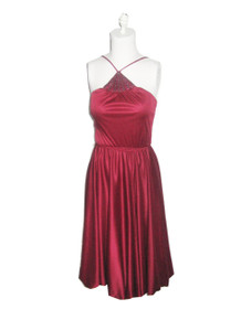 Vintage NWT Unworn Diamond's Run Designed By Wayne Diamond Burgandy Strappy Halter Glitter Neck Embellished Blouson Pouffy Disco Belt Dress