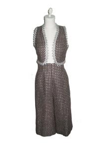 Vintage 2pc Metallic Silver Lurex  Vest & Cropped Palazzo Gaucho Pants