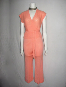 Vintage Apple Blossom Cantaloupe Pointelle Jersey Knit  Tie Waist Surplice Blouse w/ Wide Leg Palazzo Cropped Pants 2 Pc Outfit Ensemble