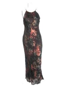 Vintage Mannequines Brown Multi-Color Floral Burnout Strappy Bias Cut Long Silk Dress