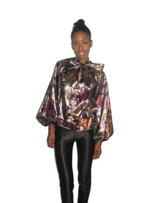 Sale POYZA Multi-Color Floral Print Metallic Lame Ascot Tie Neck Long Poet Sleeve Tunic Blouse