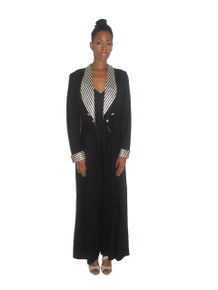 Vintage Black Off White Striped Solid Shawl Collar Wide Leg Palazzo Tie Back Tuxedo Jumpsuit