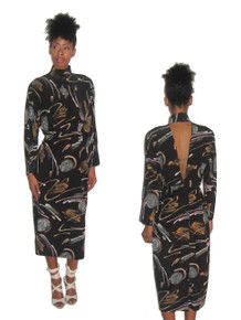 Vintage Stunning Abstract Print Cut Out Back Dress