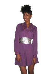Vintage Purple Flirty Scallop Embroidered Engraved Cut Out Leaf Design Short Mini Secretary Disco Dress