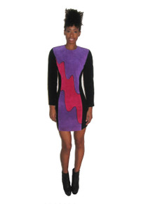 Vintage NWT Purple Fuschia Pink  Black Colorblock Wavy Panel Suede Leather Rib Bodycon Fitted Short Mini Dress