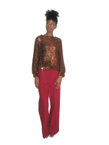 Vintage Party Collectibles Copper Sequins Mesh Scoop Neck Dolman Slouchy Tunic Blouse Top