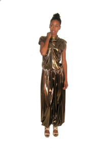 POYZA 2pc Metallic Gold Foil Lame Cowl Neck Blouse w/ Matching Harem Pants