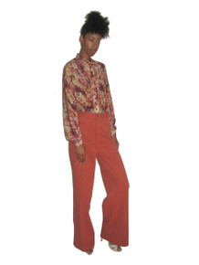 Vintage Salmon High Waist Wide Leg Palazzo Bell Bottom Loose Fit Groovy Disco Pants