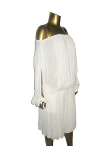 Vintage Norma Walters Stunning  Rare Sheer Off Shoulder Unusual Cut Out Knotted Sleeve Overlay Grecian Disco Dress
