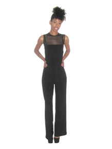 Vintage NWT Tadashi See Thru Sleeveless Handkerchief Hem Overlay Wide Leg Stretch Jumpsuit