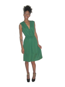 Vintage Green Sleeveless V-Neck Belted Mod Dress