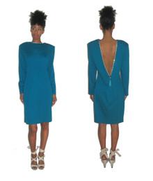 Vintage NWT ET AL Turquoise Rhinestone Deep V-Back Neck Fringe Semi Fitted Knit Dress