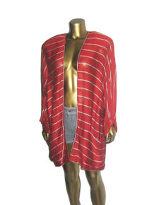 Vintage Norma Walters Red Metallic Silver Lurex Lame Striped Slouchy Kimono Turnback Cuffs Oversize Jacket  Dress
