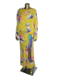 Vintage Norma Walters 3 Pcs Yellow Multi-color Floral Print Silk  Dolman Top Bias Cut Long Skirt  w/ Fringe Sash Belt