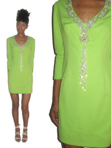 Vintage Sydney North Green Sequins Beaded Fringe Embellished  Short Mini Mod Dress