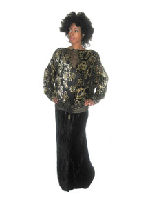 Vintage Norma Walter Black Metallic Gold See Thru Chiffon Floral Burnout Velvet Long Gown Dress w/ Belt