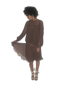 Vintage Brown Organza Pleated Blouson Tie Waist Tunic & Strappy Short Dress 2pc Outfit Ensemble