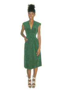 Vintage Mollie Parnis Ultra Suede Green Plunging V Pleated Buttoned  Mod Dress w/ Belt