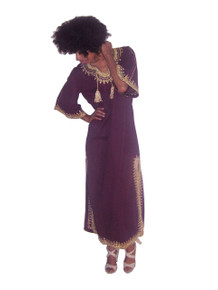 Vintage Eggplant Metallic Gold Lurex Lame Floral Embroidery Cord Fringe Neck Tie Ethnic Multi-functional Long Caftan Dress