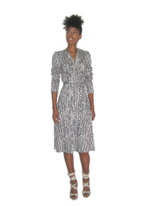 Vintage B Altman & Co Multi-Color Printed Plunging Neck Surplice Belted Wrap Disco Dress