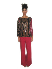 Vintage Judith Ann Creations Animal Print Sequins Beads Embellished Blouse