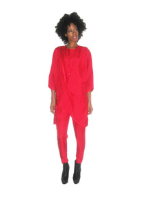 Vintage NWT Rare Eco By Fashion Creations Red Hot Crinkled Satin Overlay Pleated Draped Jumpsuit