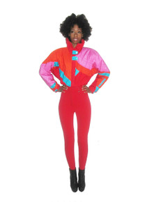 Vintage Roffe Vibrant Multi-Color Color Block Ski Suit Jumpsuit